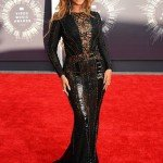 Beyonce wearing a black Nicolas Jebran Couture gown at the MTV Video Music Awards