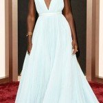 "Lupita Nyong'o wearing a custom ""Nairobi-blue"" Prada gown at the Oscars"