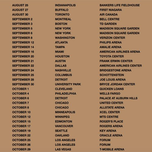 Kanye West Saint Pablo Tour Dates