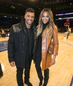 Ciara and boyfriend Russell Wilson sit court side at Madison Square Garden as they watch the NY Knicks play the Washington Wizards.